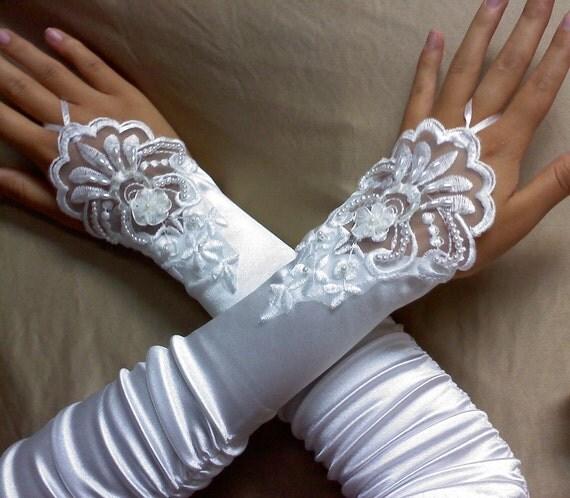bridal white fingerless gloves