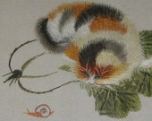 chinese art, hand made embroidery kitten and snail,pet,home decor embroidery