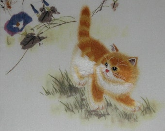 chinese art, hand made silk embroidery cute cat,pet,home decor embroidery
