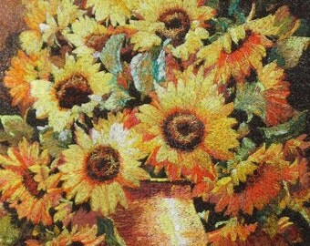home decor chinese art ,vintage,chinese silk  embroidery sunflower,
