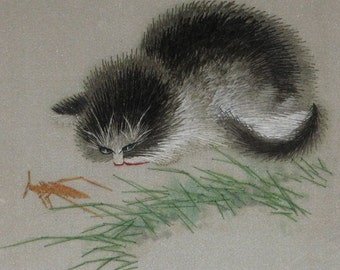 hand  silk embroidery curious cat,kitty,pet,chinese art