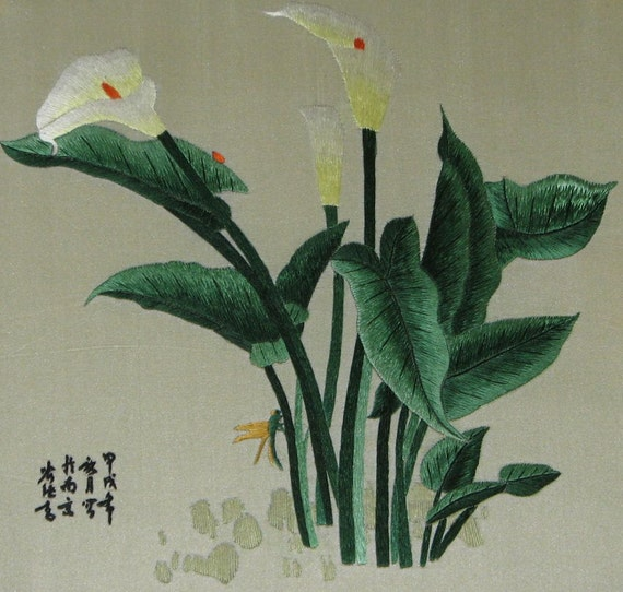 chinese art ,hand made silk embroidery  flower,home decor-Calla Lilies