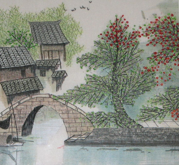 chinese art, silk embroidery landscape painting the spring,thread  painting,home decor
