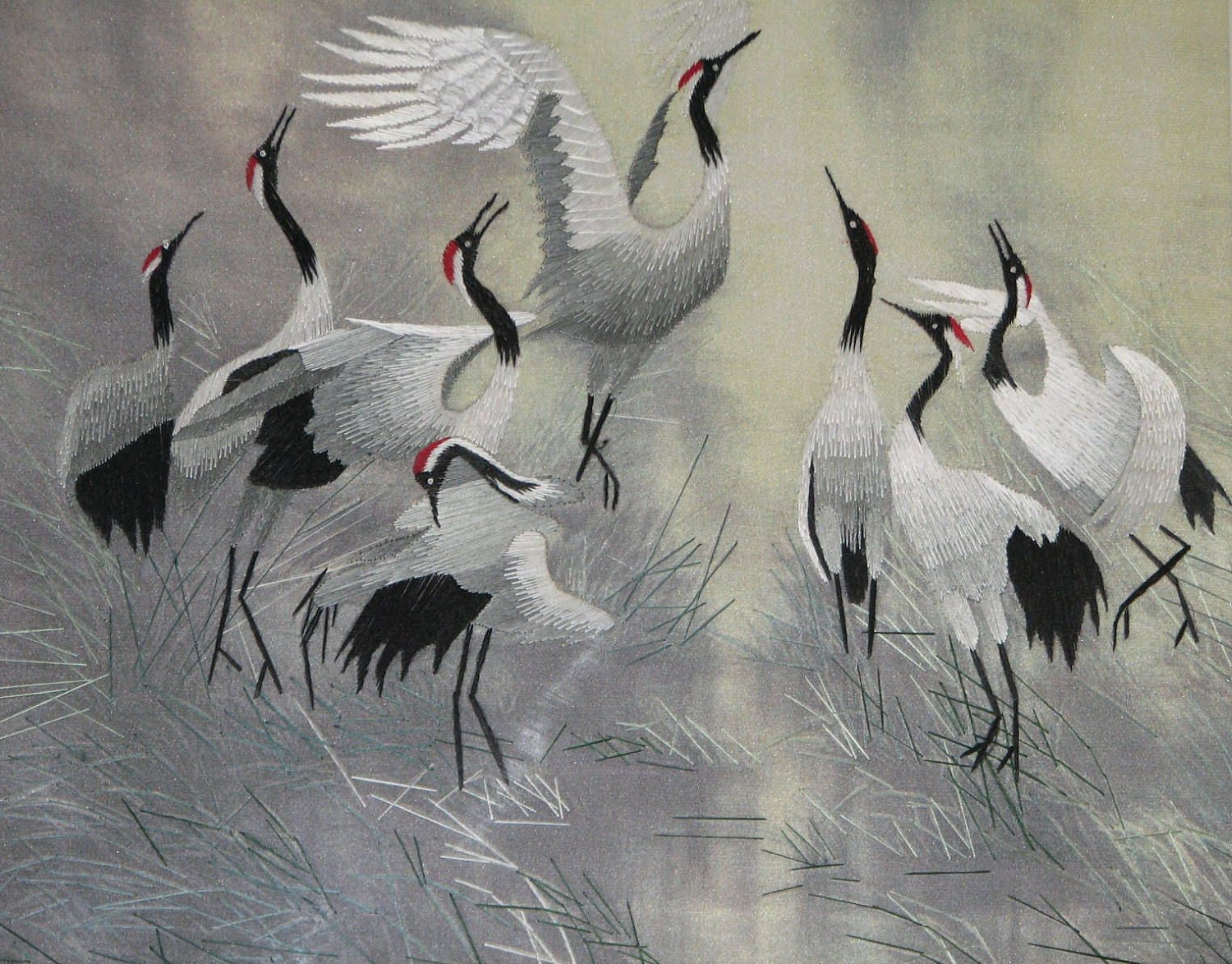 Chinese Art Hand Made Silk Embroidery Dancing Cranes With