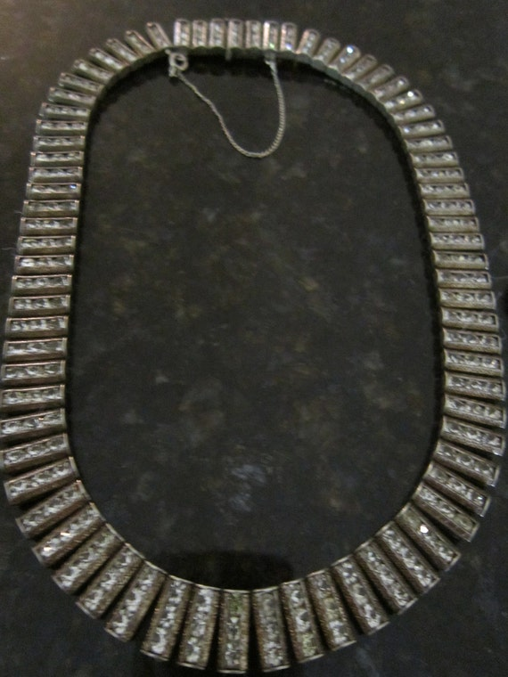 Art Deco Vintage Sterling Silver Catamore Paste Collar Necklace