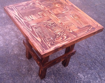 recycled wood end table