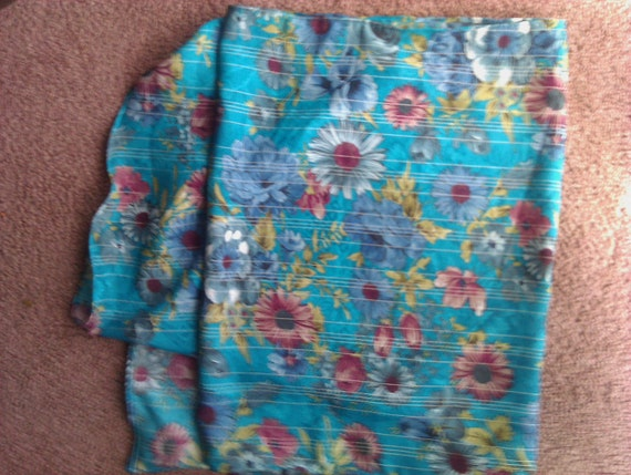 Teal floral scarf with white stripe