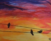 Come Join Me. Birds on the Line. Original Acrylic on Canvas. Sunset.Blue, Purple, Red, Orange, Yellow, Black.