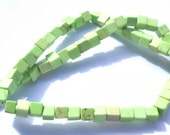 1 Strand Apple Green Turquoise Stone Square Cube Beads
