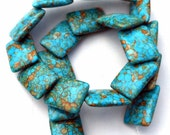 1 Strand Over Lapping Mosaic Turquoise Stone Rectangle Beads