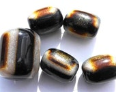 5 Bead Set of Sparkly Exotic Tiger Striped Acrylic Barrel Beads