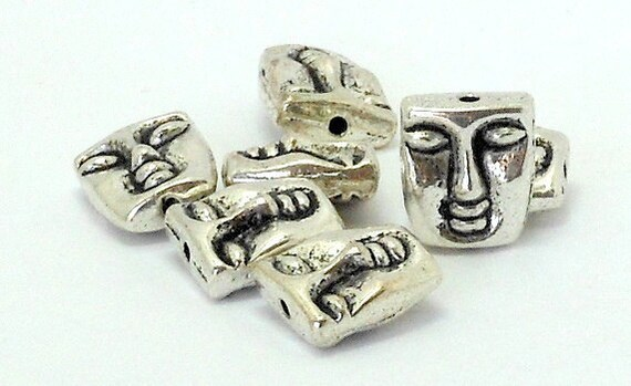 Set of 7 Antiqued Silver Plated Pewter Double Sided Tiki Face Beads