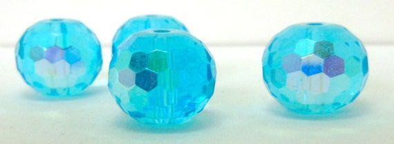 4 Large 16mm Turquoise Partial AB Faceted Czech Glass Disco Ball Rondelle Beads