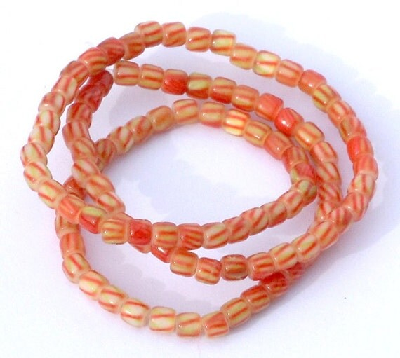 1 Strand Yellow Green Orange Striped Cats Eye Glass Cylinder Beads