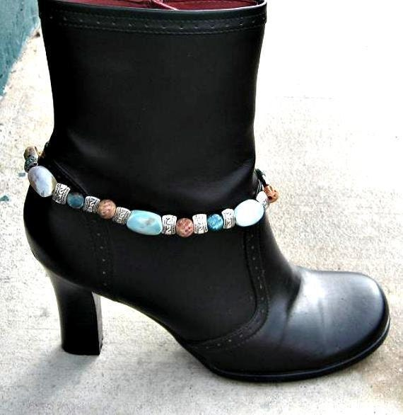 Blue Fire Agate OOAK Boot Bracelet 13 Inches Long