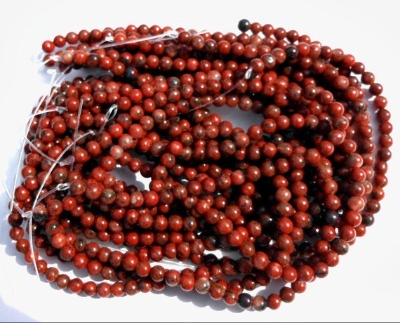 1 Strand Natural Red Sesame Jasper Stone Round Beads