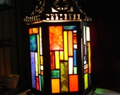 Lamp with Stained Glass Patchwork Design