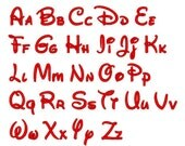 """Sizes 0.50  """",1.00  """",1.50  """" - Instant Download - Disney 233  -  Machine Embroidery Font  -"""