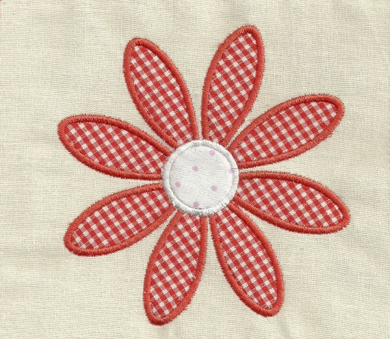 Instant Download - Red Flower 024  - Applique embroidery design