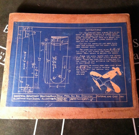 Industrial Airplane Blueprint 1933