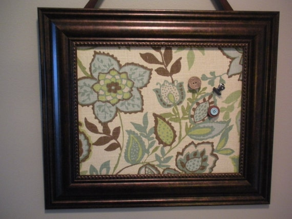 """Stylish Blue and Green Floral Fabric Covered Magnetic Memo Board, Message Board, Bulletin Board,  Brown  Frame, French Memo Board 19x16"""""""