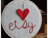 Embroidery Hoop  Art. I Heart Etsy. Hand-embroidered Wall Decor by Catshy Crafts
