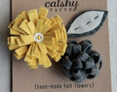 Handmade Felt Flowers and Leaf. Canary Yellow Fringed, Charcoal Grey Loop, Stitched Leaf. Felt Embellishments by Catshy Crafts