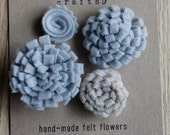 Handmade Felt Flowers. Grey and Oatmeal, Set of 4 by Catshy Crafts