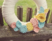 Wreath for Front Door - Pastel - Wreath - Felt Flowers