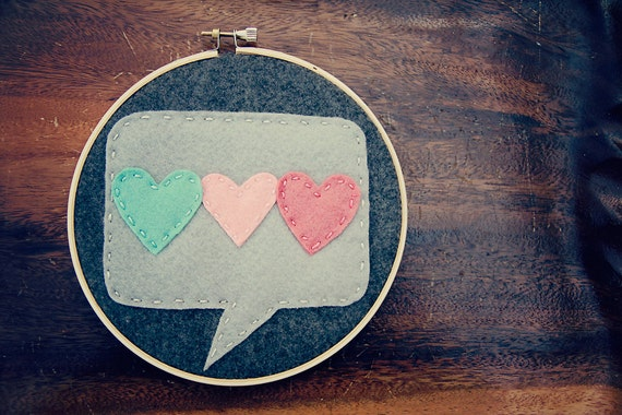 Such Love // Three Hearts Embroidered Wall Decor // In Grey, Pink, Red Felt Speech Bubble Applique // Gift for Your Significant Other