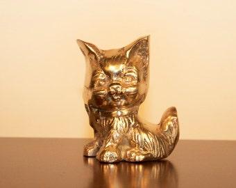 vintage brass cat figurine