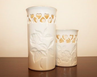 vintage ivory porcelain Lenox 24-karat gold painted pair of candle lamps