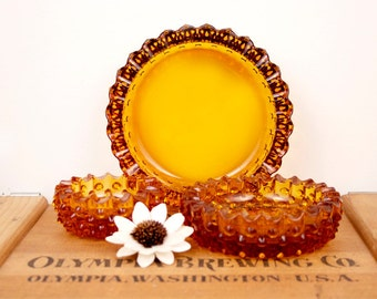 vintage fenton hobnail amber glass 3 piece nesting dish or ashtray set