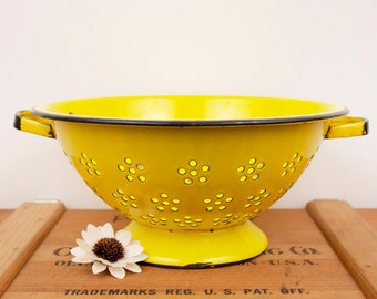 vintage yellow strainer
