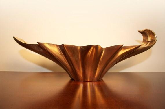vintage brass lotus flower shape bowl