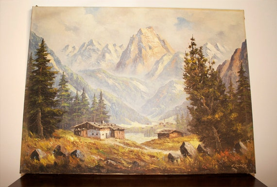 Vintage Large Oil Painting Landscape Of Zillertal Swiss Alps