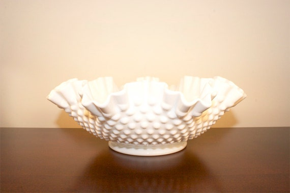 vintage fenton hobnail milk glass large bowl