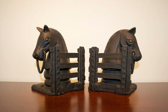 vintage cast iron horse head bookends or doorstop
