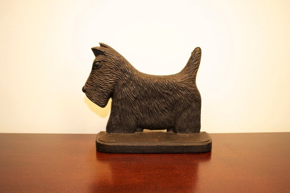 vintage cast iron scottie dog door stop
