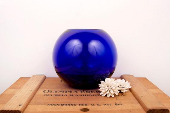 vintage cobalt blue round vase