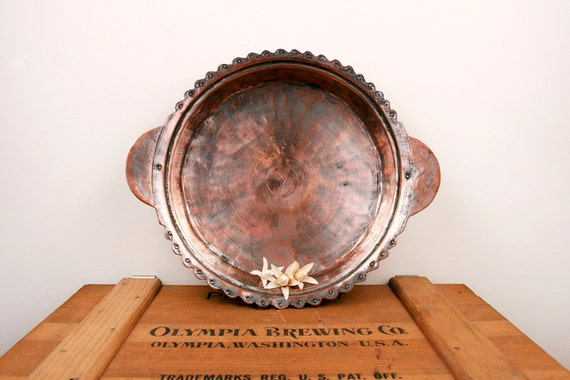 vintage copper decorated plate with handles
