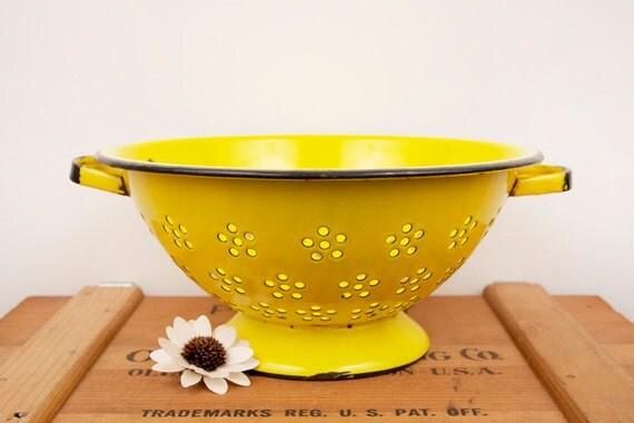 vintage yellow strainer