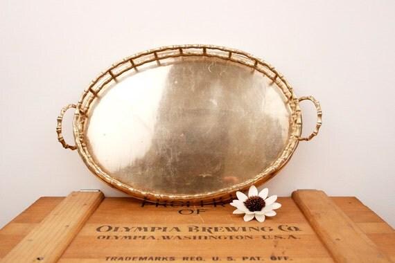 vintage brass faux bamboo medium tray