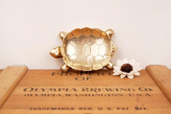 vintage brass turtle soap dish or trinket holder figurine