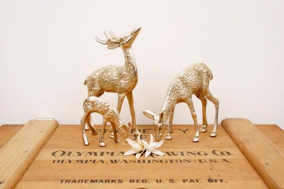 vintage brass three deer figurines