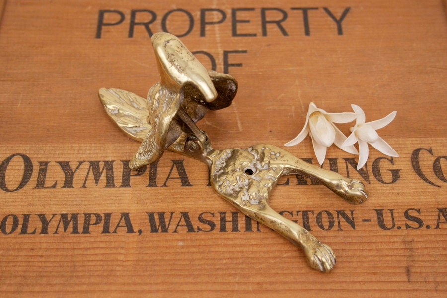 Vintage Brass Wolf Head Door Knocker