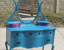 SALE: Vintage Teal Dresser with Pink Accented Lined Drawers