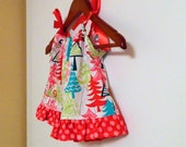 Colorful Trees Pillowcase Dress - Red, Green. Aqua, and Pink -  3-6  months  ready to ship