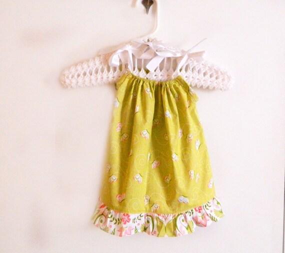 Baby Pillowcase Dress - Green Butterflies -  12 months ready to ship