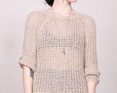 90s open knit raglan sheer sweater s-m